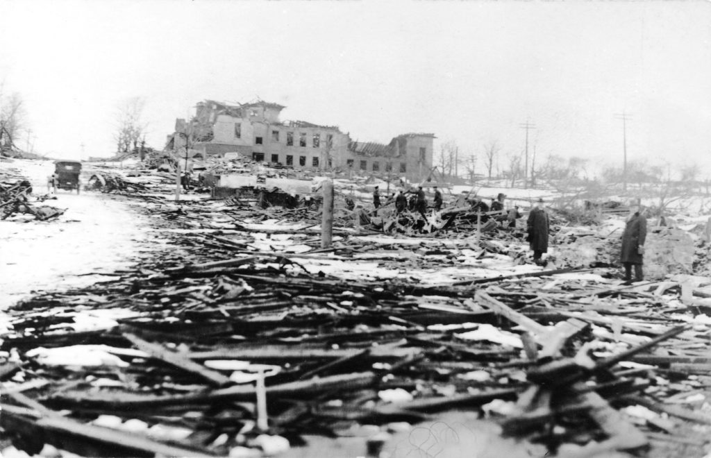 The damaged Roome Street school remained standing, but more than 80 children were killed in the houses and streets leading up to it. (Nova Scotia Archives)